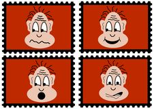 Four stamps - four mimics Stock Images