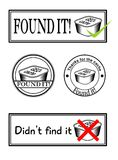 Four stamps with geocaching theme. On white background Stock Photo