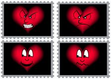 Four stamps with hearts. In different mimics. Available as Illustraor-File Royalty Free Stock Images