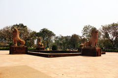 Four statue. Four brown statue in Cambodia Royalty Free Stock Images