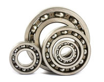 Four steel ball bearings Stock Images
