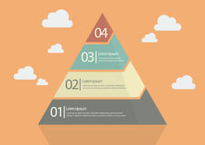 Four Step Pyramid Diagram. Flat Style Design Stock Images