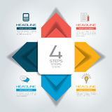 Four steps connected circle, round arrows  infographic. Royalty Free Stock Image