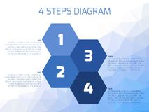 Four steps diagram. Of hexagonal elements. Business infographics concept. Four shades of blue elements with text labels on lowpoly background Royalty Free Stock Photos
