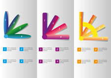 Four Steps Diagrams. Three Different Type Of Diagrams With Four Steps And Legends Royalty Free Stock Images