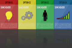 Four steps infographic. Infographics with 4 steps in bright colors with cartoon icons and reflection. Four steps modern timeline. Infographics with bulb, gear Stock Image