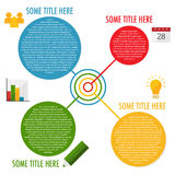 Four steps infographic template. Inforaphic template with four bubbles in different colors and icons Stock Photography