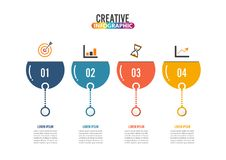Four steps infographic can illustrate a strategy, workflow. Four steps infographics - can illustrate a strategy, workflow or team work Royalty Free Stock Images