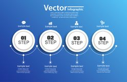 Four steps infographics with circles on blue Royalty Free Stock Image