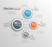 Four steps infographics with colorful circles. Can be used for workflow layout, diagram, business step options, banner, web design. Vector Stock Image