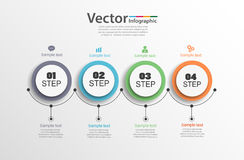 Four steps infographics with colorful circles. Can be used for workflow layout, diagram, business step options, banner, web design. Vector Royalty Free Stock Photography
