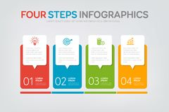 Four Steps Infographics Stock Images