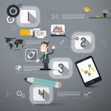 Four Steps Infographics Layout. With Business Man and Technology Device Icons Royalty Free Stock Photography
