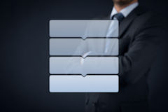 Four steps infographics. Four steps (4-steps) infographics with manager or businessman in background Stock Image