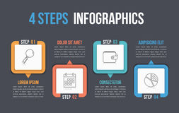 Four Steps Infographics. Process chart template, four steps infographics Stock Images