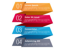 Four Steps Infographics. Four steps, infographics template with four elements and place for your text, can be used as process, steps or options, origami ribbon Stock Photography