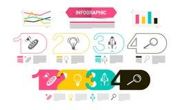 Four Steps Modern Web Presentation with Graphs vector illustration