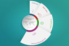 Four steps rounded infographics with 3D objects, outline icons a Stock Photography