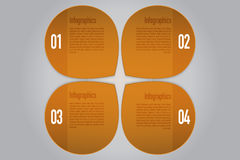 Four steps rounded infographics in orange colors. Four rounded 3D pointers with arrow to same direction on gray gradient backdrop can be used as infographic or Royalty Free Illustration