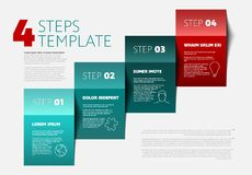 Four steps template. One two three four - vector paper progress steps template with descriptions and icons Stock Photography