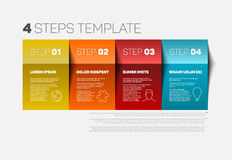 Four steps template. One two three four - vector paper progress steps template with descriptions and icons Royalty Free Stock Photography