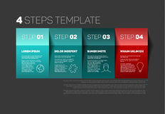 Four steps template. One two three four - vector paper progress steps template with descriptions and icons Royalty Free Stock Image