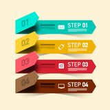 Four Steps Vector Infographic Design. Infographic Layout with Colorful Papers and Technology Icons stock illustration