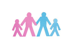 Four stick figures standing together over white background Royalty Free Stock Photos