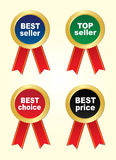 Four stickers -bestseller,top seller,best choice,best price Royalty Free Stock Image