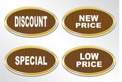 Four stickers - Discount, low price, special, new price. Stock Image