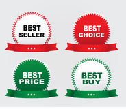 Four stickers. Four labels - bestseller, best choice,best price, best buy, on a white background Stock Image