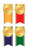 Four stickers. Four labels -bestseller,best offer,best choice,best product, on a white background Stock Image