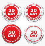 Four stickers - money back 30 day Stock Images