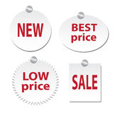 Four stickers - New, best price, low sale, sale Stock Images