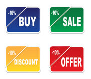 Four stickers. Four tags -buy,sale,discount,offer,  , on a white background Royalty Free Stock Photo