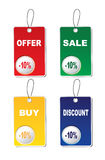 Four stickers. Four tags -buy,sale,discount,offer,  , on a white background Stock Photos