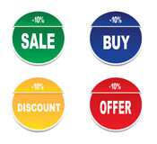 Four stickers. Four tags - sale,buy,discount,offer, on a white background Royalty Free Stock Photography