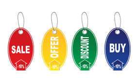 Four stickers. Four tags - sale,buy,discount,offer, on a white background Royalty Free Stock Photos