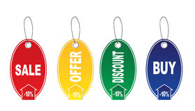 Four stickers. Four tags - Sale,offer, discount,buy,on a white background Royalty Free Stock Image