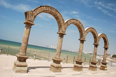 Four Stone Arches. The famous four stone arches on Puerto Vallarta's beach front Stock Photography