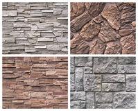 Four stone texture. Set of textures from a stone and brick Royalty Free Stock Photos