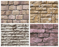 Four stone texture. Set of textures from a stone and brick Royalty Free Stock Photography