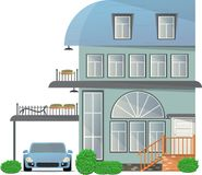 Four-storey cottage with a terrace and a balcony and a tent for the car. Vector illustration royalty free illustration