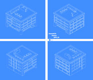 Four-story building with four sides schematic drawing Royalty Free Stock Images