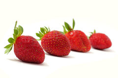 Four Strawberries. Image of four fresh strawberries with white background stock photos
