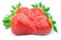 Four strawberries isolated Royalty Free Stock Photos