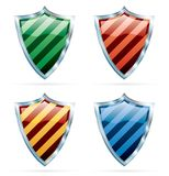 Four stripped shields Royalty Free Stock Photo