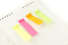 Four strips of coloured paper Royalty Free Stock Photo