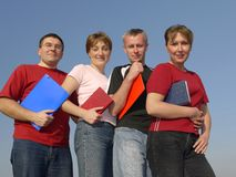 Four students stock images