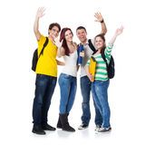 Four Students smiling and hand wave Royalty Free Stock Photography